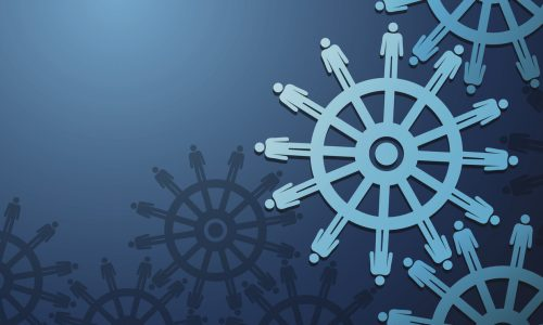 Business Peoples and cogwheels on blue background